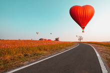 Red Hot Air Balloon In Heart S...