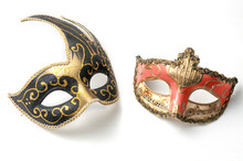 Two Theater Or Mardi Gras Venetian Masks On White Background