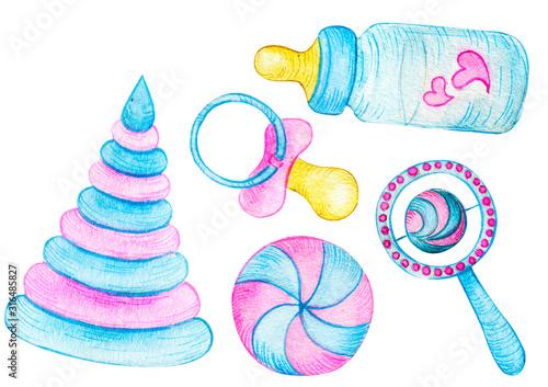 Vászonkép watercolor illustration set of toys for kids