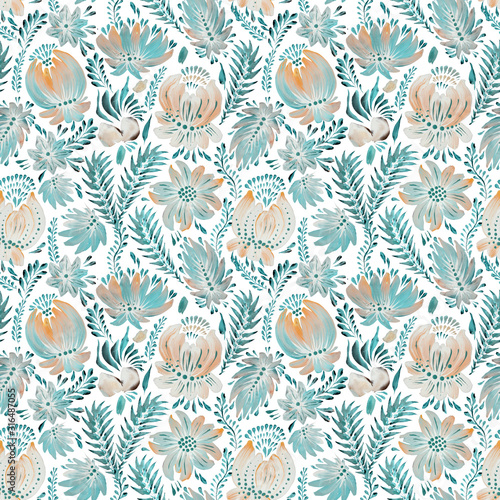 watercolor-painted-floral-seamless-pattern-in-ukrainian-folk-painting-style-petrykivka-hand-drawn-fantasy-flowers-leaves-branches-on-a-white-background-batik-page-fill-poster-textile-print
