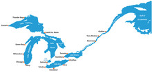 Map Of The Great Lakes And St Lawrence River With Major Cities