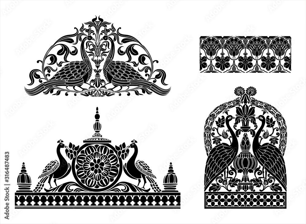 Fototapeta peacock motif designs, textile , Rajasthan, royal India