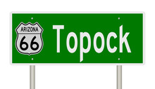Rendering Of A Green 3d Highway Sign For Topock Arizona On Route 66