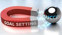 Goal Setting Helps Achieving Success - Pictured As Word Goal Setting And A Magnet, To Symbolize That Goal Setting Attracts Success In Life And Business, 3d Illustration