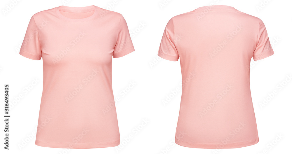 Fototapeta Blank pink female t shirt template front and back side view isolated on white background. T-shirt design mockup for using promotional