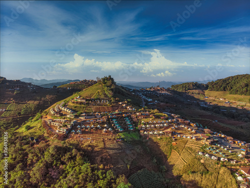 Top view aerial photo from flying drone of  Doi Mon Jam Camping Tent Tourist att Fototapeta