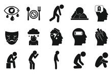 Depression Icons Set. Simple S...