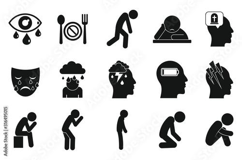 Fototapeta Depression icons set. Simple set of depression vector icons for web design on white background obraz