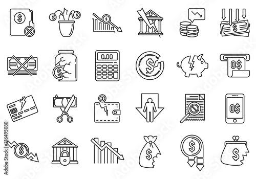 Bankrupt business icons set Wallpaper Mural
