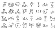 Rent A Bike Icons Set. Outline...
