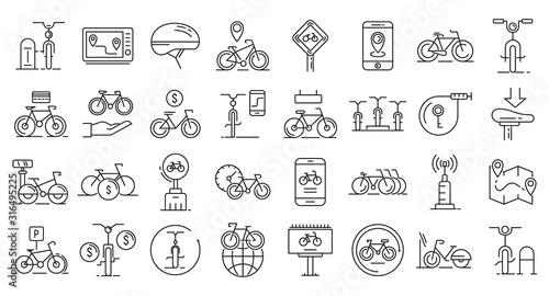 Rent a bike icons set Fotobehang