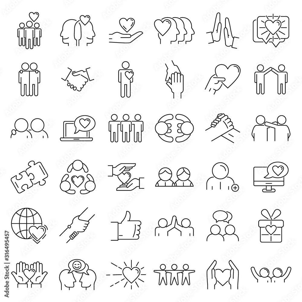 Fototapeta Friendship icons set. Outline set of friendship vector icons for web design isolated on white background