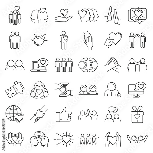 Friendship icons set. Outline set of friendship vector icons for web design isolated on white background