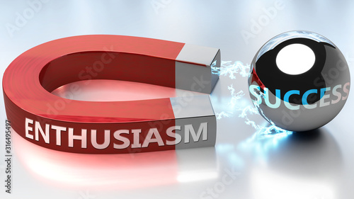 Fototapeta Enthusiasm helps achieving success - pictured as word Enthusiasm and a magnet, t