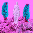 canvas print picture - Greek statue in blooming space. Fashion collage art