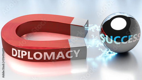 Fotomural  Diplomacy helps achieving success - pictured as word Diplomacy and a magnet, to