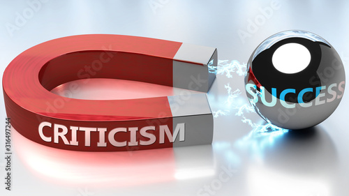 Billede på lærred Criticism helps achieving success - pictured as word Criticism and a magnet, to