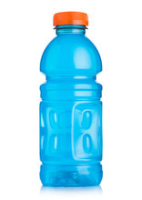 Plastic Bottle Of Blue Energy Drink On White Background. Perfect For Workout And All Athletics.
