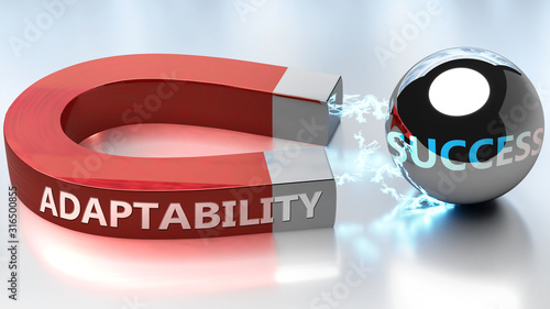 Photo Adaptability helps achieving success - pictured as word Adaptability and a magne