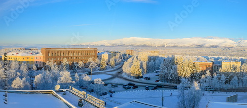Photo Winter panorama of the central square of Apatity.