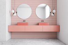 Pink And White Bathroom Interi...