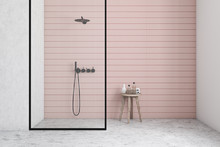Pink And White Bathroom Interior With Shower