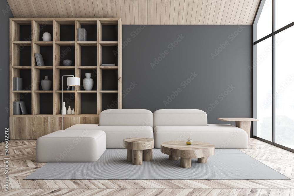 Fototapeta Gray attic living room and library