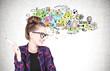 Leinwanddruck Bild - Cheerful nerd girl with glasses, creative idea