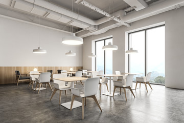 White and wooden Industrial style cafe corner