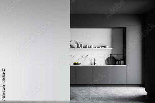 Fototapeta Gray and white kitchen with mock up wall obraz