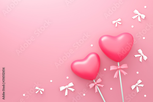 Fototapeta Happy Valentines day background with Love candy and small ribbon or gift style pattern. Romantic heart shape on pink backdrops. 3D rendering. obraz