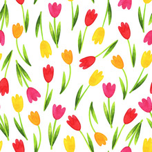 Watercolor Tulips. Spring Multi-colored Pattern With Scattered Flowers. Seamless Background For A Cheerful Design, Perfect For International Women's Day, March 8, Gift Wrapping, Fabric, Textiles