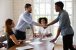 Happy diverse business partners shaking hands, making agreement