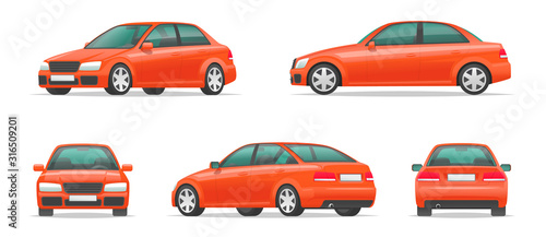 Fotografia Set of different angles of a red car