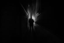 Dark Corridor With Cabinet Doo...