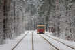 Tram number 12 on the route in a snow-covered forest in Kyiv. Ukraine