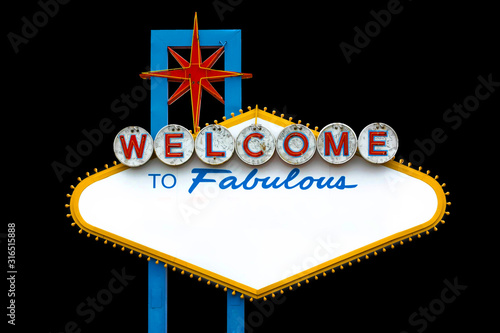 Blank Welcome to Fabulous Las Vegas Sign on black background Canvas Print