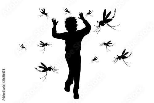 Photo Vector silhouette of boy who runs away mosquito on white background