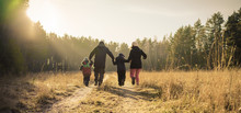 Happy Family Walking On Countr...
