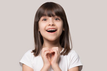 Cheerful Excited Little Girl S...