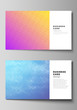 The minimalistic abstract vector illustration of the editable layout of two creative business cards design templates. Abstract geometric pattern with colorful gradient business background.