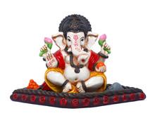 Hindu God Ganesha On Isolated ...
