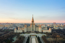 Aerial View Of Lomonosov Moscow State University On Sparrow Hills, Moscow, Russia. Scenic Panorama Of Moscow With The Main Building Of MSU From Above