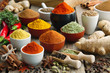 Leinwandbild Motiv Various aromatic colorful spices and herbs. Ingredients for cooking..Ayurveda treatments.