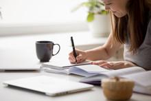 Student Girl Writing Essay Preparing For University Entrance Exams