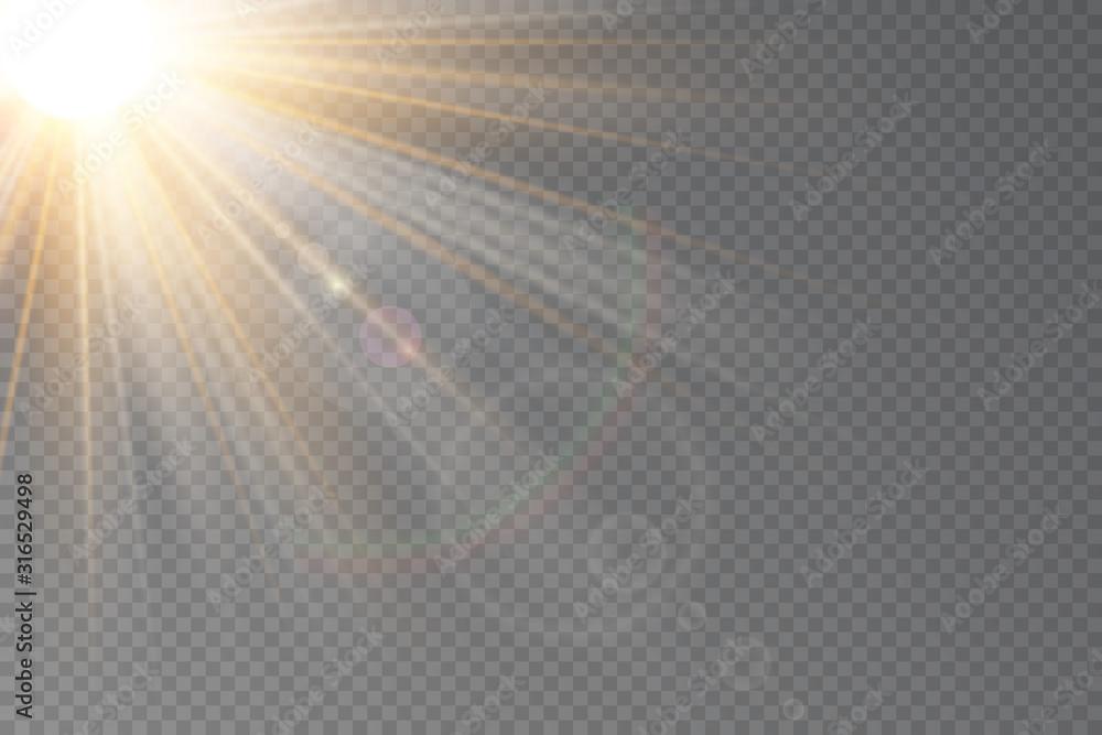Fototapeta Vector transparent sunlight special lens flare light effect.