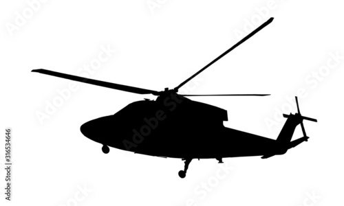 Fotomural black silhouette of army helicopter on white background