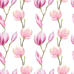 Fototapeta Do jadalni finished image of a seamless pattern of linearly arranged pink and purple Magnolia flowers on a white background, watercolor