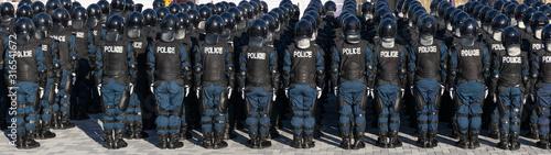 街を守る警察の機動隊 Canvas Print
