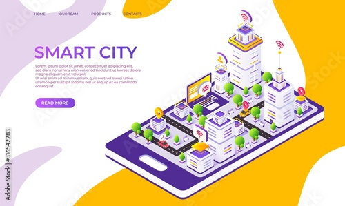 Obraz Isometric city landing page. Futuristic digital town with innovative buildings and technology. Vector 3D flat illustrated smart town design, creative moderner company concept - fototapety do salonu